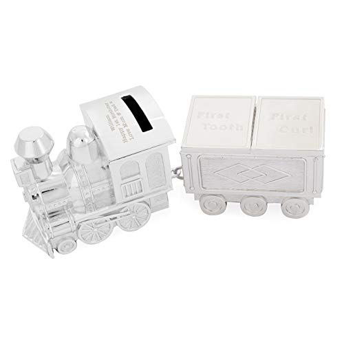 GAF Personalisierte Zug Baby Tooth & Curl Schmuckstück Keepsake Spardose, versilbert - Neugeborenes Geschenk, Tag der Benennung, Taufe, Taufe Geschenke für Jungen