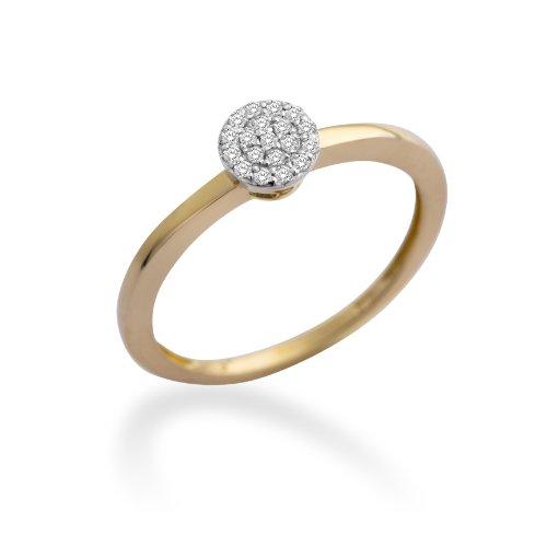 MIORE MP9072RP - Anillo de oro bicolor de 9 quilates con diamante (.095), talla 16 (17,84 mm)