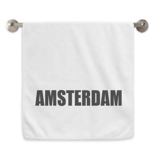 DIYthinker Amsterdam Nederland Naam Cirkel Wit Handdoeken Zachte Handdoek 13X29 Inch