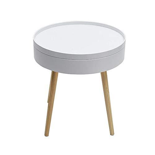 Jcnfa-bijzettafel kleine eindtafel met opbergruimte, ronde zijtafel, bank zijtafel, massief houten voeten, groef ontwerp, 2 maten