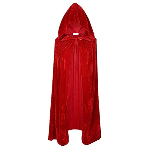 Rojo Westeng Largo Capa de Halloween Capa con Capucha Disfraz de Caballero Deluxe Fiesta Disfraces para Mujeres Hombres Size XXS-60cm