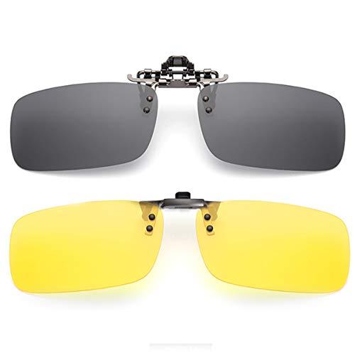 CHEREEKI Polarisierte Sonnenbrille Clip, Sonnenbrile Aufsatz Rectangle Lens Flip up Herren Damen Sonnenbrille Clip Gegen Licht Sonnenbrille für Myopie Brille im Freien Fahren (Schwarz & Gelb)