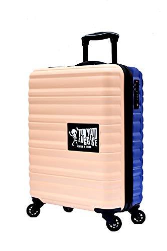 Maleta de Cabina Equipaje de Mano 55x40x20 Maleta Juvenil Trolley de Viaje Ryanair Easyjet Maleta de Viaje Rígida Beige/Blue (Preparada para Cargar Móviles) TOKYOTO Luggage (Maleta + Cargador)