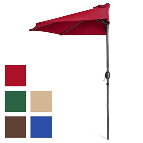 Best Choice Products 9ft Steel Half Patio Umbrella w/Crank...