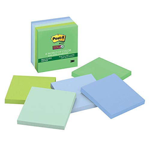 Post-it Super Sticky Recycled Notes, 3 in x 3 in, 5 Pads, 2x the Sticking Power, Bora Bora Collection, Cool Colors (Green, Light Blue, Blue, Mint, Green), 30% Recycled Paper (654-5SST)