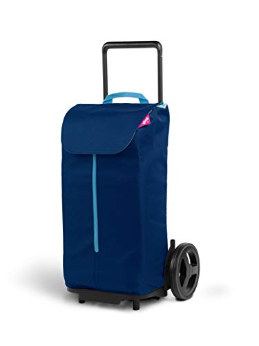 Gimi Komodo Carro de la Compra con Ruedas XXL, Bolsa 100% poliéster Impermeable, Capacidad 50L, 37,9 x 45,3 x 95,6 cm, Acero, Azul, Grande