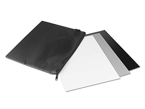 Graukarte White Balance Grey Card für manuellen Weißabgleich und Belichtungsmessung • Reflektiert 18% des Lichts • mit Neoprentasche u. Farb-Referenzkarten • Große Variante: 25,4 x 20,2