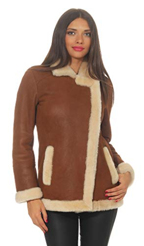 Hollert Lammfelljacke - Ola Damen Winterjacke aus gewachsenen Merino Lammfell Veloursleder Jacke Größe XL
