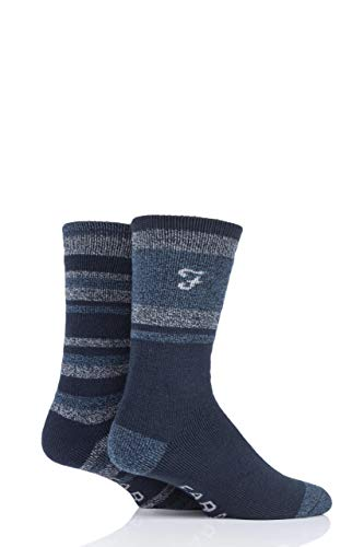 FARAH® Herren Innen gebürstet Stiefel Socken Packung mit 2 Marine/Blau/Grau 39-45