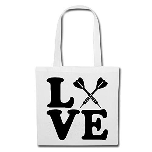 Tasche Umhängetasche I Love Dart - Darts - DARTSCHEIBE - DARTPFEIL - DARTAUTOMAT Einkaufstasche Schulbeutel Turnbeutel in Weiß