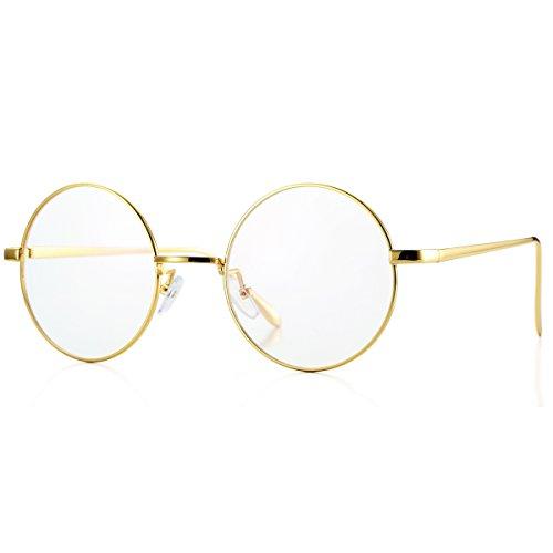 Pro Acme Retro Round Metal Frame Clear Lens Glasses Non-Prescription(Gold Frame/Clear Lens)