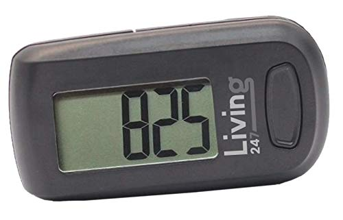 Living247 FitStep 3D Pedometer for Seniors, Easy to Use One Button Step Counter Step Tracker