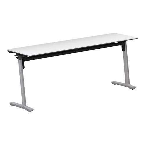 コクヨ 会議テーブル カーム KT-S1400P81PAWNN 天板フラップ式 パネルなし直線タイプ 電源コンセントなし棚付き フラットシルバー脚/天板ホワイト 幅180×奥行き45cm