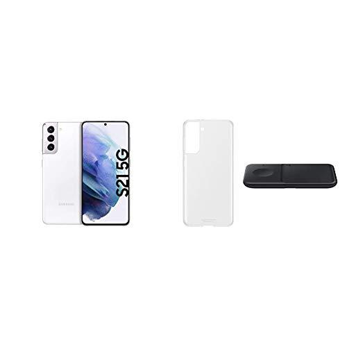 Samsung Galaxy S21 5G, Triple-Kamera, Infinity-O Display, 256 GB Speicher, leistungsstarker Akku, Phantom White S21 Clear Cover transparent inkl. Wireless Charger Duo P4300