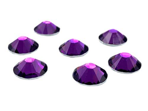 100Unidades EIMASS® resina espalda plana, redonda, No HotFix, brillantes cristales, gemas, tamaño grande, color Morado, talla
