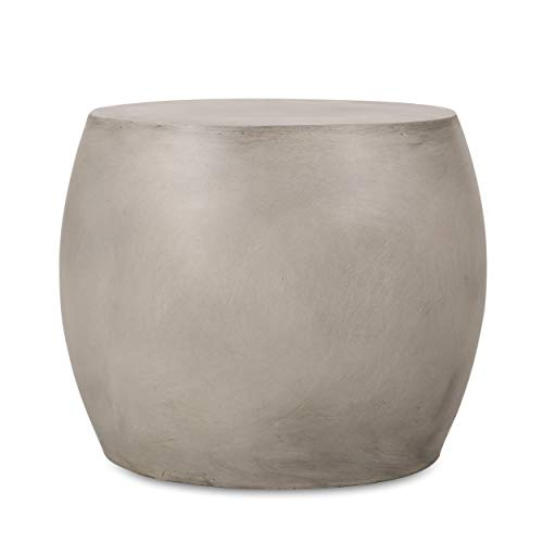 Christopher Knight Home 313405 Richie Outdoor Lightweight Concrete Side Table, Light Gray