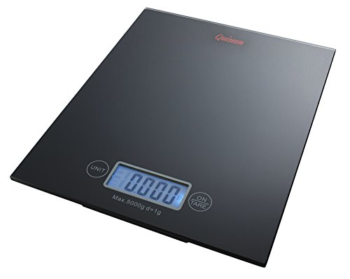 Quiseen Digital Kitchen Food Scale - One Touch - High Precision - Elegant Black Tempered Glass Design - 11 lbs Capacity