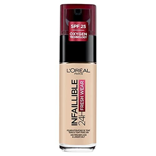 L'Oréal Paris Make up, Wasserfest und langanhaltend, Flüssige Foundation mit LSF 25, Infaillible 24H Fresh Wear Make-up, Nr. 20 Ivory, 30 ml