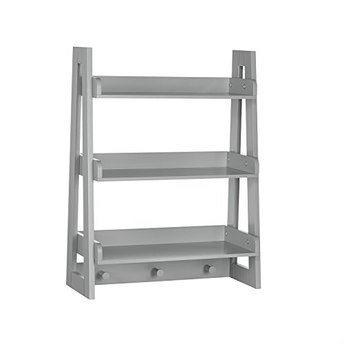RiverRidge Wall Shelf with Hooks for Kids, Gray