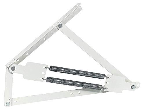 Gedotec Swing-Away Springbeslag, hoogstelsteun, in lengte en dwars opklapbaar, klepbeslag, staal, wit, 1 stuks