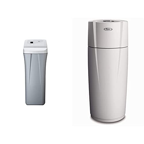 Whirlpool WHES40E 40,000 Grain Water Softener-Built in USA-Salt Saving Technology-NSF Certified, Off-White & WHELJ1 Central Water Filtration System, White