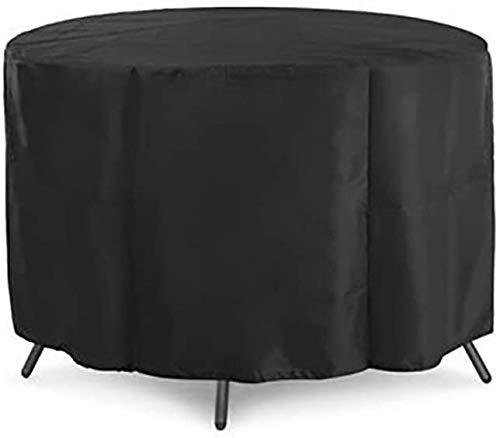 HBWJSH 230x110cm / 90.5x43.3in Negro Patio Cubierta de Mesa Redonda 210D Muebles de jardín Cubierta Vector Y Silla Cubierta de Polvo Cubierta y la Cubierta Protectora de Muebles al Aire Libre (Tamaño