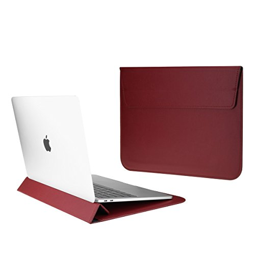 TOP CASE - Synthetic Leather Ultra Slim Sleeve Case for 13' Slim Laptop/MacBook Pro 13' Retina (2012-2015) / MacBook Pro 13' (2016/2017) / MacBook Air 13' / iPad Pro / 13' Ultra Book (Wine Red)
