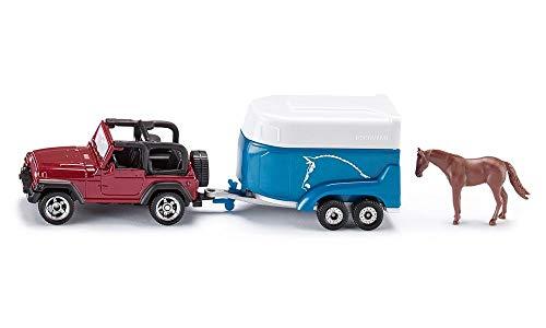 Siku 1651, Jeep mit Pferdeanhänger, Metall/Kunststoff, multicolor, Inkl. 1 Spielzeug-Pferd, Öffenbare Verladeklappe