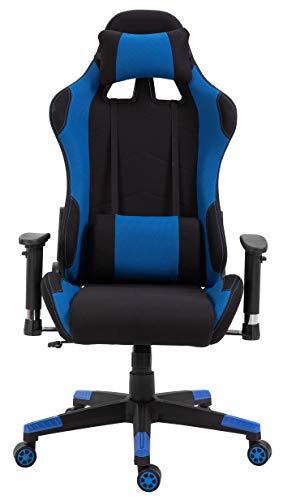 Delman Racing Bürostuhl Schreibtischstuhl Gaming Chair Drehstuhl Computerstuhl Stoff Bezug mit Kissen einstellbaren Armlehnen Ergonomisch höhenverstellbar 02-0021 (Schwarz-Blau)