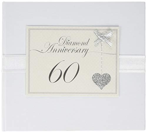 Witte katoenen kaarten 60e verjaardag sprankelende liefde hart gastenboek (LLA60G)