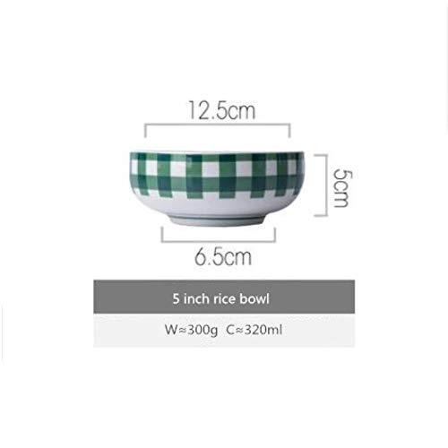 QVC Green Plaid Serie Teller Set Keramik Küche Teller Geschirr Set Lebensmittel Reis Reis Salat Nudel Schüssel Suppe, 5 Zoll Reis Schüssel