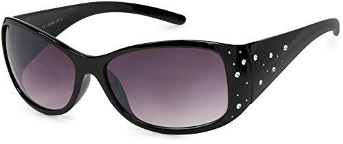 styleBREAKER Sonnenbrille mit Strasssteine und Verlaufstönung, Schmetterlingsform, Damen 09020055, Farbe:Gestell Schwarz/Glas Grau-Violett Verlaufsglas