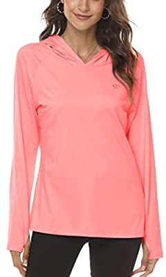 AjezMax Lightweight Hooded Long Sleeve T-Shirt Top Tee Hiking Walking for Womens Pink Large