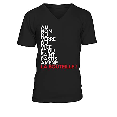TEEZILY T-Shirt Homme Au Nom du Verre du Vice Et du Saint Pastis Amene La Bouteille - Noir - L