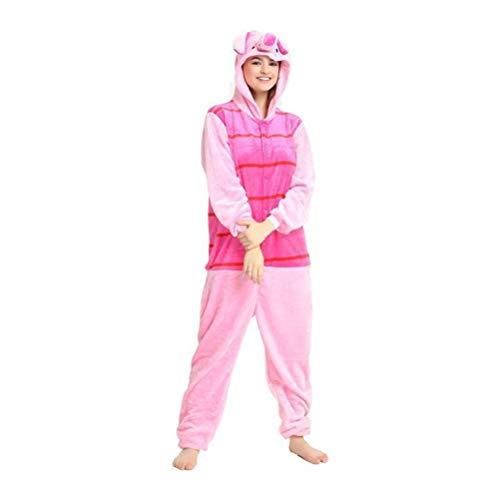 Unisex-Pyjamas Adult Animal Onesies Cartoon Siamese Pyjamas Pink Couple Pyjamas Niedliche Pyjamas Flanell, Golden_flower, Rose Rot, L