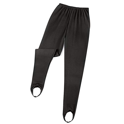 Women's Classic Tapered Leg Stirrup Pants, Black, Large - Made in The USA