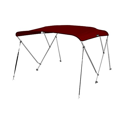 """MSC Standard 3 Bow Bimini Boat Top Cover with Rear Support Pole and Storage Boot (Grey, 3 Bow 6'L x 46"""" H x 85""""-90"""" W)"""