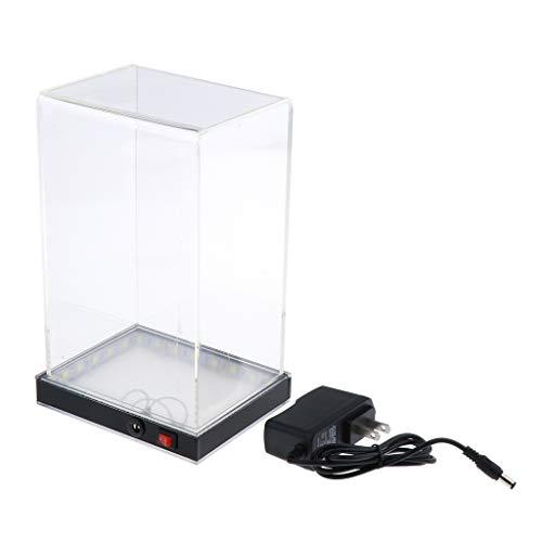 CUTICATE Acryl Vitrine Schaukasten Staubschutz Ausstellung Box mit LED-Licht für Sammelfigur Auto Modell Spielzeug
