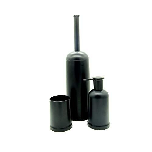 KOOK TIME - Set de 3 Accesorios baño, dispensador de jabón líquido, Vaso portacepillos y escobillero baño, plástico Robusto y de Calidad (Negro)