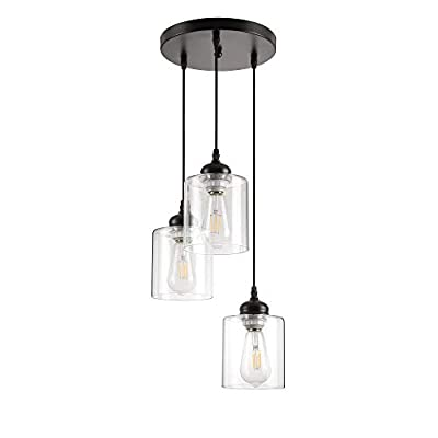 Black Industrial Pendant Light,Farmhouse Vintage Hanging Lighting fixtures with Clear Glass lamp for kistchen Island Dining Room (3 Lights)
