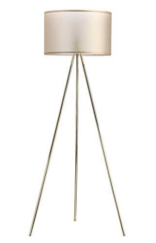 Modernluci Stehlampe Stativ Modern Stehleuchte Messing für das Wohnzimmer, Schlafzimmer Lampen, Zeitnah Stehlampe Tripod Skandinavischer Stil mit Textilschirm ø 45cm Höhe:150cm Messing