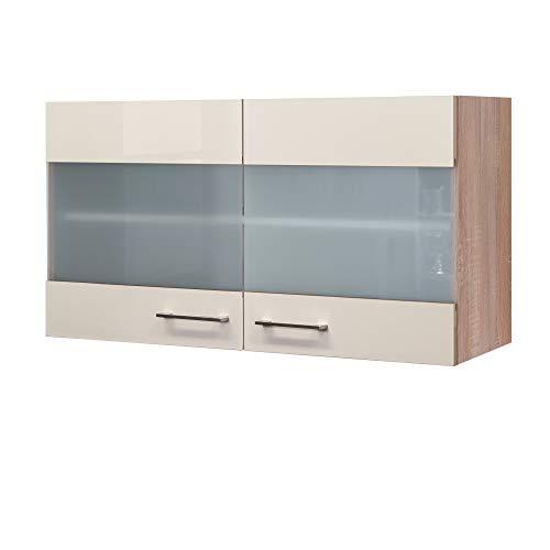 Flex-Well Glas-Hängeschrank NEPAL - Küchenschrank - 2-türig - Breite 100 cm - Creme glänzend/Eiche Sonoma