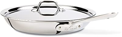 All-Clad D3 Stainless Cookware, 12-Inch Fry Pan with Lid, Tri-Ply Stainless Steel, Professional Grade, Silver, Model:41126