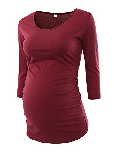 Love2Mi Damen 3/4 Ärmel Seite Geraffte umstandsshirt Top Umstandsmode Kleidung, Wienrot, L