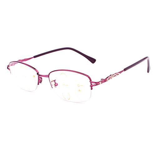 CAOXN Gafas De Presbicia Femenina Multifocales Progresivas, Lentes De Resina De Alta Definición con Fatiga Ocular Que Bloquea La Luz Azul, Dioptrías De 1.0 A 3.0,+2.50