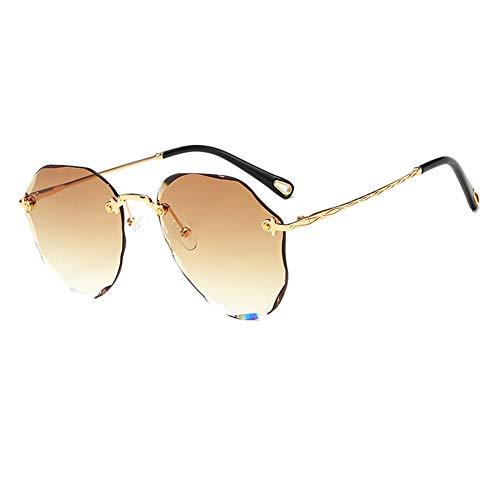 MSYOU Klassische Sonnenbrille mit geschliffenem Rand, Farbverlauf, Metall, Polygon-Stil, Sonnenbrille für Damen und Mädchen, Outdoor, Urlaub, Reiten, Anti-UV-Blendung, Brille (hellbraun)