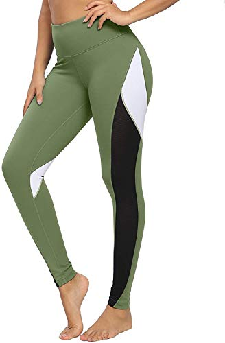 Alessioy Yoga De Mujer Polainas Paso Novena De Pantalones Color Los De Vida de la Moda Bloqueo De 25 Pulgadas con Malla Polainas Entrenamiento Mallas para Correr (Color : Armeegrün, One Size : XL)