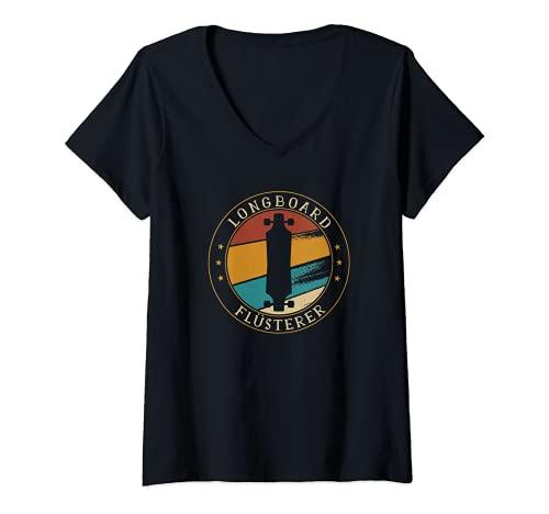 Damen Flüsterer Skater Longboard Skateboard Lustig T-Shirt mit V-Ausschnitt