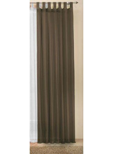 Transparente einfarbige Gardine aus Voile, viele attraktive Farbe, 245x140, Braun, 61000
