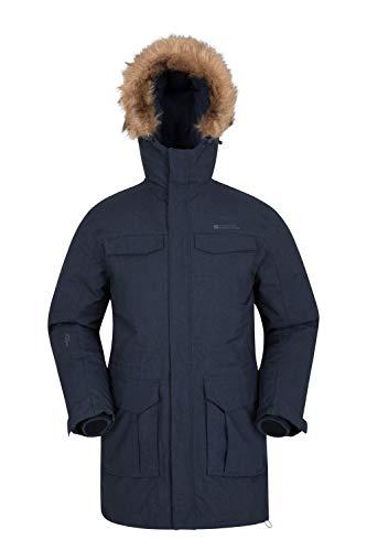 Mountain Warehouse Sub Zero Daunen-Steppjacke für Herren - Leichte Daunenjacke, Wasserfeste Winterjacke, 2 Fronttaschen und 1 Brusttasche - Ideal für den Winter Marineblau S